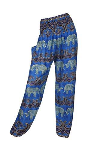 HAREM pantaloni - ALADDIN HIPPIE pantaloni con 18 motivi diversi Elephant 1 Blue