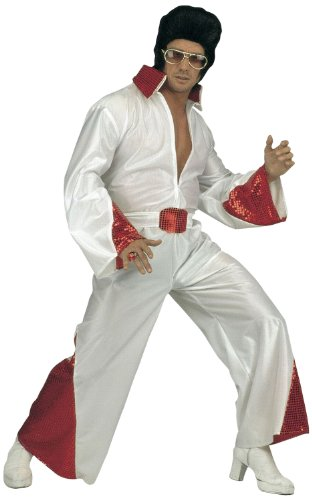 Widmann 35203 - Erwachsenenkostüm King of Rock N Roll, Kostüm mit Paillettenstickerei und Gürtel, Größe (Elvis Kostüm Gürtel)