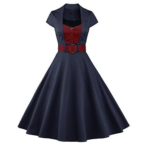 iLover 50s Retro vintage Rockabilly kleid Hepburn Stil shirt Partykleid Cocktailkleid