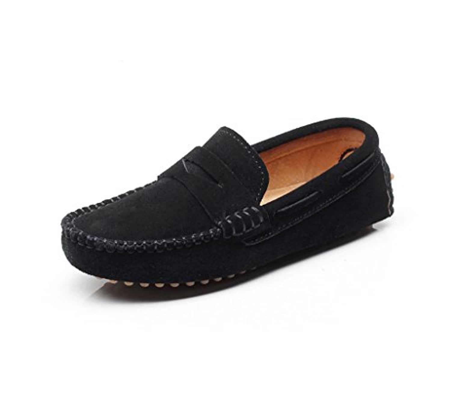 Shenn Boys' Cute Slip-On Suede Leather Loafers Shoes(Black,2 Child UK)