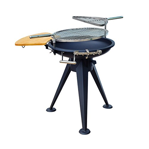 41U0wQkyDlL. SS500  - Outsunny Outdoor Garden Patio Adjustable Barbecue Double Grill Charcoal BBQ Party Cooking Fire Pit with Cutting Board - Black