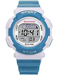 Unihappy Boy Kid Child Girl Led Digital Multi-Colored School Sports Waterproof Alarm Wristwatch with Button Battery
