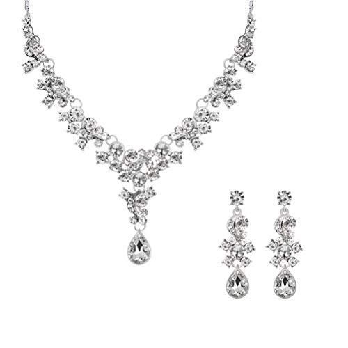 FENICAL Kristall Brautschmuck Set Strass Hochzeit Halskette und Ohrringe für die Braut Kleid Dekoration