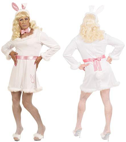 Komplett Kostüm Playboy Häschen Männer Kleid Fliege Hasenohren Blonde Perücke weiße Fischnetz-Strumpfhose Herren Hase Bunny Drag Queen Einheitsgröße Junggesellenabschied