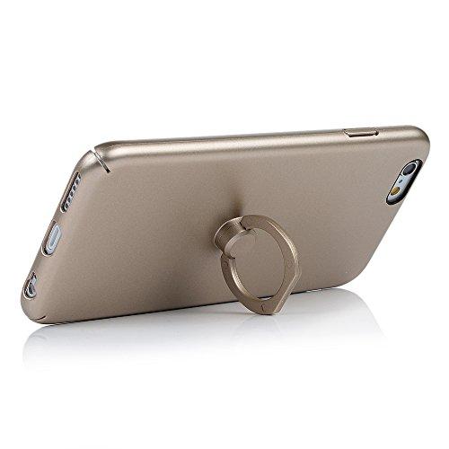 iPhone 6/ 6s Cover Opaco Vernice Metallizzata Rigida Plastica PC - YOKIRIN Case con Stent Anello Ultra Slim Sottile Case [Custodia + Penna Capacitiva] - Nero Oro
