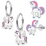 GH* KIDS 2 PAAR Kleine Einhorn Creolen + Ohrstecker 925 Echt Silber Mädchen Baby Kinder Ohrringe Ohrhänger Stern Krone Eule Pegasus (1) mit Einhorn)