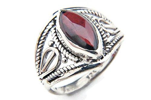 Ring Silber 925 Sterlingsilber Granat rot Stein (MRI 70), Ringgröße:56 mm/Ø 17.8 mm - Antik-ring-set