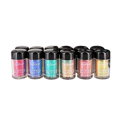 EL 12st Gesicht Highlighter Pailletten Metallic Makeup Shimmer Funkeln-Puder-Augen-Schatten-Nagel Pailletten Kit (Make-up-kit Verkauf)