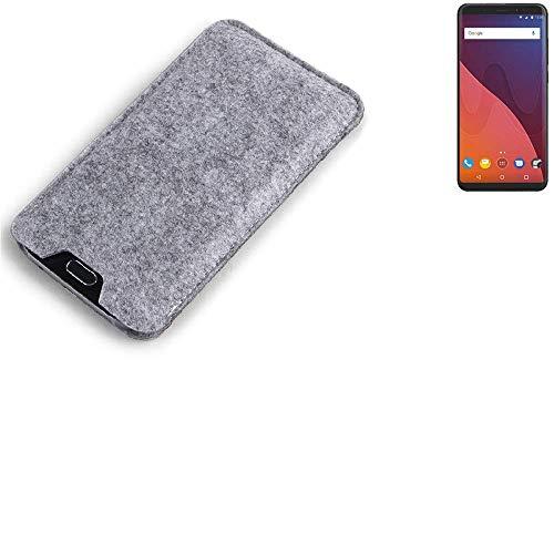 K-S-Trade Filz Schutz Hülle für Wiko View 32 GB Schutzhülle Filztasche Filz Tasche Case Sleeve Handyhülle Filzhülle grau