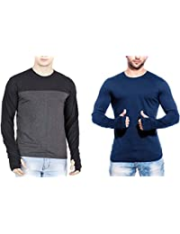 T Shirts For Man Blue&Multicolour Full Sleeve Thumb-hole Round Neck Cotton Men T-Shirt - Pack Of 2