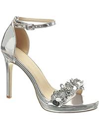 Angkorly - Chaussure Mode Sandale Escarpin stiletto sexy Chic femme fleurs strass diamant lanière Talon haut aiguille 10.5 CM