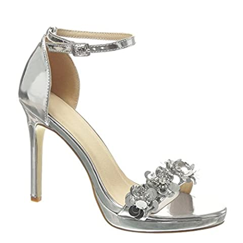 Angkorly - damen Schuhe Sandalen Pumpe - Stiletto - Sexy - schick - Blumen - Strass - String Tanga Stiletto high heel 10.5 CM - Silber 238-2 T