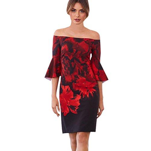 OSYARD Langarm Boho Schulterfrei Kleid Damen Off-Shoulder Strandkleid, Cold Shoulder Sommerkleid mit 3/4-Ärmeln Maxikleid mit Blumendruck