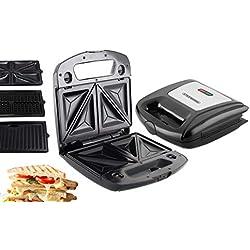 3in1 Waffeleisen | Sandwichmaker | Elektrogrill | Sandwichtoaster | Kontaktgrill | Paninigrill | Waffeltoaster | 850 Watt | 3 Auswechselbare Platten |