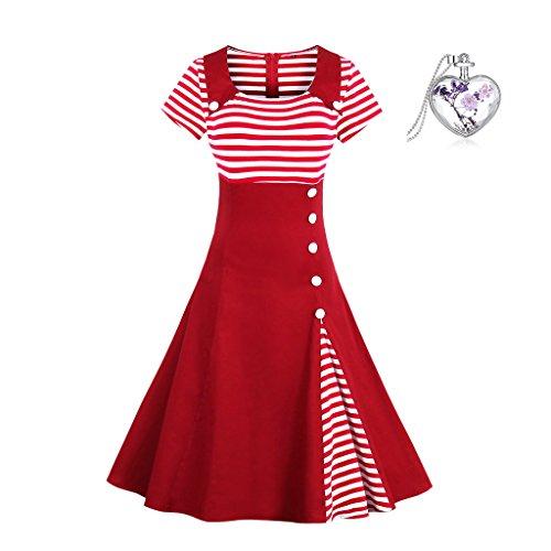 BiilyLi Damen Retro Rockabilly Rotes Kleid- Frauen Abendkleid Retro Stil der 1950er Jahre Gestreiftes Kleid (2XL, rot und weißen (Bar Sexy Maid Kostüme)