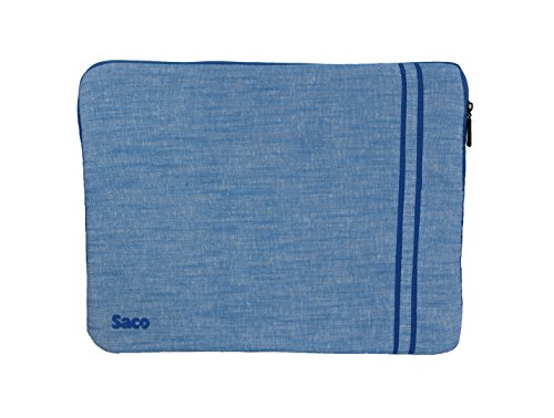 Saco Washable Fabric Laptop Notebook Ultrabook Sleeve Bag Zipper Case with accessories adapter pocket suitable for Dell Inspiron 5547 Notebook - 15.6 inch - Blue