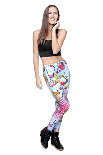 Filles Leggings pour femme Imprimé All Over pas voir à travers très élastique UK 8/10/12 Entraînement Fitness Yoga de Course Gym Danse Pantalon pour femme Multicolore - FAST FOOD COMIX