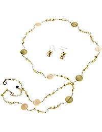 Oi! - N2874/E2874 - Parure Boucles d'Oreille et Collier Femme - Perle/Cristal - Perle d'eau douce