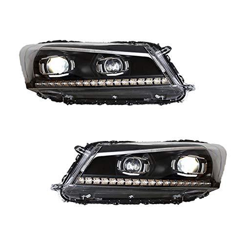 Scheinwerfer-Set für Accord 2008-2013 Bi-Xenon-Linse Projektor Doppelstrahler Xenon HID Kit mit LED-Tagfahrlichtern, 2 Stück
