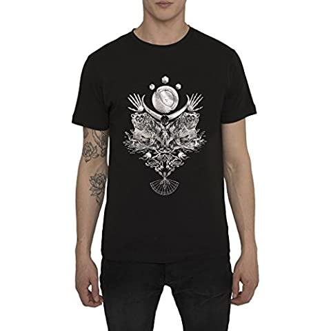 Camisetas de Algodón para Hombre, T Shirt Rock Vintage, Camiseta Negra con Estampada - THE BEAST Cool Fashion Metal Silver Print, Cuello redondo, Manga corta, Ropa Moda Designer S M L XL