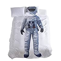 Together 2 double rooms all together 3D printing space astronaut clothing bedding, white, simple: 168 * 229 cm
