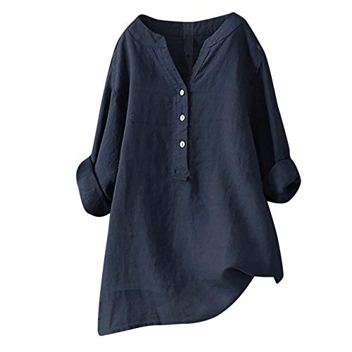 YEBIRAL Sommer Neu Damen Große Größen Leinen Einfarbig mit Rundhals Kurzarm T-Shirt Lose Tops Oberteile Bluse (EU-48/CN-4XL, X-Marine) -