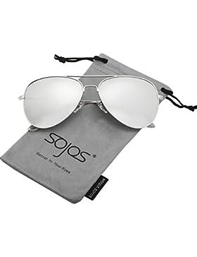 SOJOS Gafas De Sol Para Hombres Y Mujeres Aviator Clásico Marco Metal Lentes Espejo Polarizadas SJ1054 Marco Plateado...