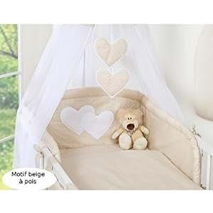 Tour de lit bébé - 120*60 ou 140*70 - beige à pois à coeurs