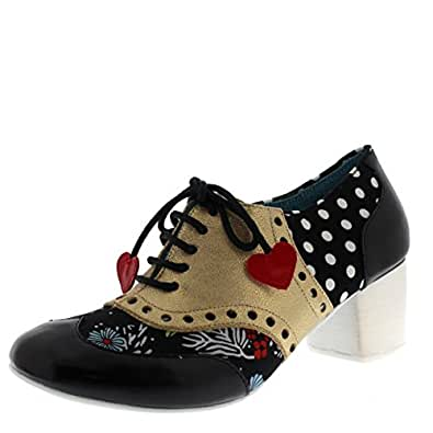 Poetic Licence by Irregular Choice Clara Bow, Brogues Femme (Black/Gold M), 43 EU