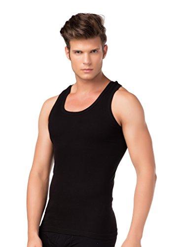 Herren-Achselshirt Unterhemd Unterwäsche Bambusfasern Rundhals breite Träger TF Thermoform, schwarz Feinripp, M