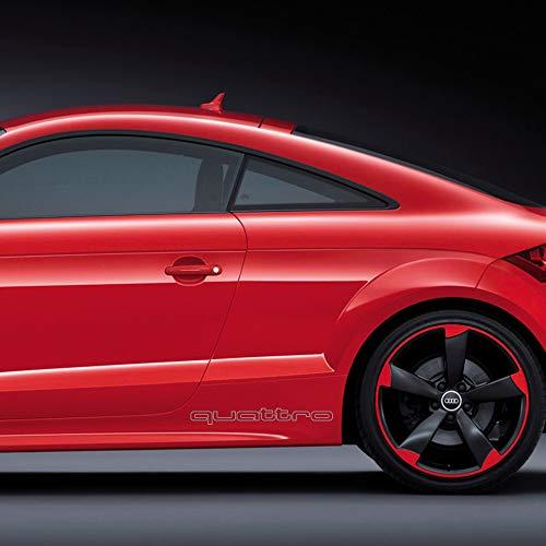 Autodomy Confezione Adesivi Audi Quattro Contorno 2 Pezzi per Auto (Argento)