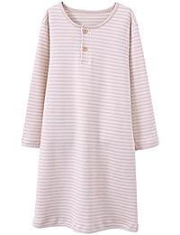 HOYMN Chemise de nuit pour Fille 2-11ans Robe de nuit à Manches Longues à Rayures en 100% coton pour Enfant Beige