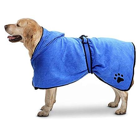 TFENG Mikrofaser-Bademantel für Hunde mit Kapuze, schnell trocknend, schnell saugfähig, Haustier-Bademantel, Katzentuch…