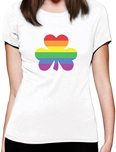 St'Patricks Shamrock Motiv Gay Pride Damen T-Shirt Slim Fit Weiß