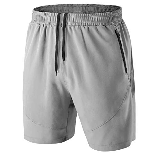 Herren Sport Shorts Kurze Hose Schnell Trocknend Sporthose Leicht mit Reißverschlusstasche(Hellgrau,XL)