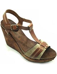 CafèNoir 8:10 Sandalo Zeppaeb120-122 - Sandalias de vestir de Piel para mujer
