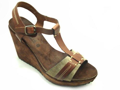 Padders , Sandales Compensées femme - - Metallic Combi Leather,