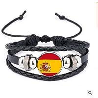 RUNFON pulsera bandera nacional pulsera trenzado con perla en diseño de la bandera de España para los Fans de fútbol recuerdos Rusia 2018
