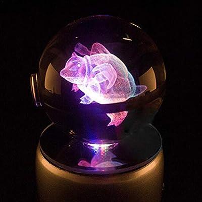 Lámpara decorativa hecha a mano de luz nocturna 5CM 3D LED bola de cristal Pokémon Decoración del hogar Luz de noche Lámpara de mesa RGB de color Elfo 13 Estilos El mejor regalo de Navidad por iBelly