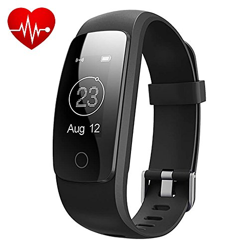 Makibes ID107 Plus Bluetooth Smart braccialetto attività sportiva Trackerwith frequenza cardiaca Tracker braccialetto per Android/iOS, Nero