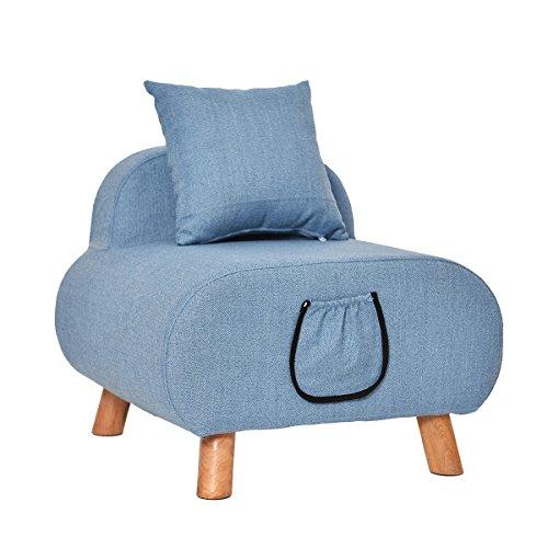 Kleiner Sofa Sitzhocker Holz Unterstützung gepolstert Fußhocker Ottoman Stuhl Hocker Stoffbezug 4 Beine und abnehmbare Leinenbezug (mit Kissen) erhältlich blau