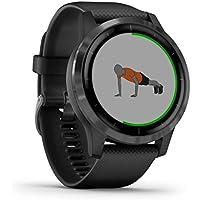 Garmin vívoactive – schlanke, wasserdichte GPS-Fitness-Smartwatch mit Trainingsplänen und animierten Übungen, 20 Sport-Apps, 5 Tage Akkulaufzeit, kontaktlos Bezahlen