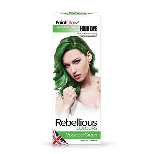 Paintglow - Rebellious Colours - Tinte de Pelo Semi-Permanente 70 ml Voodoo Green - 1 unidad