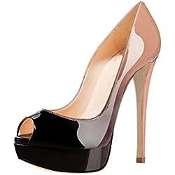 MIUINCY , Damen Pumps, mehrfarbig - Beige/Schwarz - Größe: 37.5