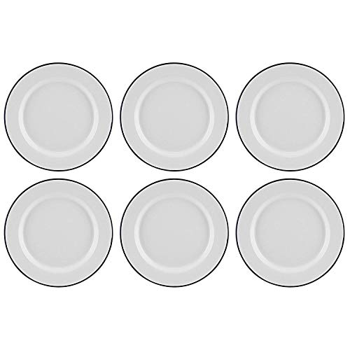 Set of 6 Traditional Falcon White Enamel Dinner Plate Roasting Baking (26cm) by Falcon - White Dinner Plate