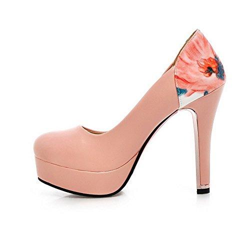 VogueZone009 Femme Pu Cuir à Talon Haut Rond Couleurs Mélangées Tire Chaussures Légeres Rose