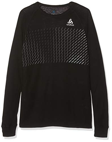 Odlo Kinder SUW TOP Crew Neck l/s Active Originals W Unterhemd, Black-Placed Print FW18, 164