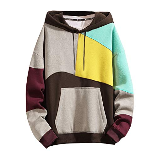 UANGER Fashion Mens Patchwork Hoodie Sweatshirt Long Sleeve Jumper Hooded Pullover Blouse,with Kanga Pocket Tops,Splicing Contrast Jumper (Yellow, L)