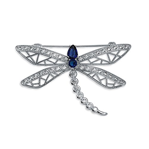 Bling Jewelry Rhodium CZ simulierten Sapphire Dragonfly Brosche Pin