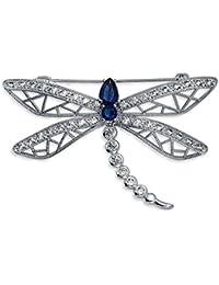 Bling Jewelry Rodio plateado simulado CZ del zafiro de la libélula broche